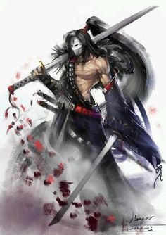 The masked samurai reaper Character Creation, Character Concept, Character Art, Concept Art, Anime Fantasy, Dark Fantasy, Fantasy Art, Arte Ninja, Ninja Art