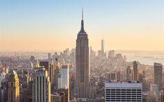 Lataa kuva 4k, Empire State Building, aamulla, New York, pilvenpiirtäjiä, NYC, Amerikassa, USA
