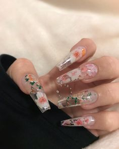 """using my coffin gel x extensions & my floral foils! use my code """"KAYNAILEDIT"""" for some money off your… using my Aprés Nail coffin gel x extensions & my floral foils! use my code """"KAYNAILEDIT"""" for some money off your… Clear Acrylic Nails, Summer Acrylic Nails, Acrylic Nail Designs, Clear Nail Designs, Clear Nails With Design, Best Nail Designs, Perfect Nails, Gorgeous Nails, Pretty Nails"""