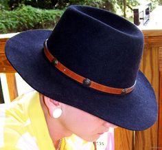 Akubra Australian Outback Western Hat Sz 7 BOSS Black by gypsumoon, $120.00