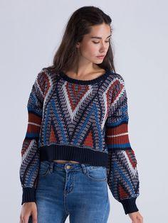 Multicolor Chevron Pattern Chunky Knit Jumper Dresses #Tops #Swimwear #Jeans #Jackets #Skirts #Shoes