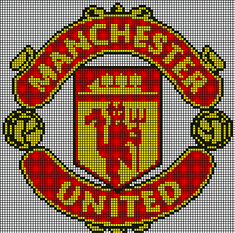 Manchester United, Manchester Logo, Beading Patterns, Knitting Patterns, Cross Stitch Designs, Cross Stitch Patterns, Pinterest Cross Stitch, Rhinestone Crafts, Football