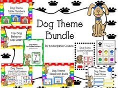 Dog Theme Classroom  from KindergartenCouture on TeachersNotebook.com -  (67 pages)  - Dog Theme Classroom, 10 Frame Posters, Table Numbers, Desk Plates, Color Posters, Behavior clip Chart, rules, word wall, schedule cards, locker numbers