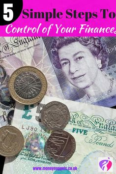 Struggling to keep on top of your finances? Here are 5 Simple Steps to help you take charge of your money today! Money Today, My Money, Money Tips, Money Saving Tips, Money Savers, Earn Money, Wealth Management, Money Management, Ways To Save Money