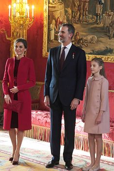 (L-R) Queen Letizia of Spain, King Felipe VI of Spain and Infanta Sofia of Spain attend the Order of Golden Fleece ceremony at the Royal Palace in Madrid, Spain. Today, King Felipe is also celebrating his 50th birthday.