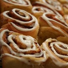 Cinnamon Rolls - I found this recipe on allrecipes.com. I tried them and I will never buy cinnamon rolls again! The best! If you have a bread maker, try these!
