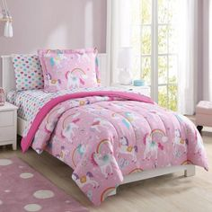 Girl's Pink Full Size Comforter Set Rainbow Unicorn Bed in a Bag Bedding Set Girls Pink Bedding, Girls Bedroom, Bedroom Decor, Girl Bedding, Bedroom Curtains, Teal Comforter, Bedroom Windows, Bedroom Ideas, Full Size Comforter Sets