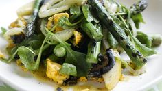 Asparagus, Pear and Fennel Salad with Blue Cheese and Pickled Walnuts