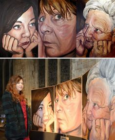 Sophie's project culminates in a large scale triptych, depicting three generations of her family upon huge canvases. The women have similar expressions and positions, with heads resting upon hands, looking in different directions. The stunning conclusion to her A Level Art project also provides an important visual record for her family, which will be treasured for generations to come.