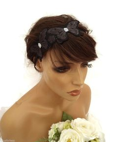 20's Flapper Style Black Sequin Butterfly Bandeau Headband Hair Band Fascinator