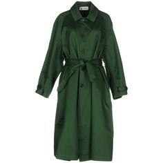 Barena Overcoat (€490) ❤ liked on Polyvore featuring outerwear, coats, green, cotton coat, over coat, green trench coats, barena and long sleeve coat