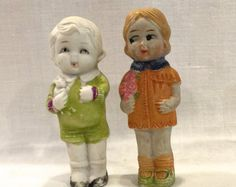 Vintage Bisque Doll with a Bisque Dog on by VintagePrairieHome