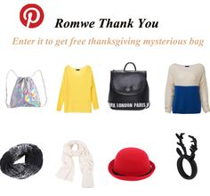 #REPINTOWIN >> 3 winners will get mysterious bags on 10th Nov by random . How to win: 1.repin any item you like on romwe pinterest 2,send repin link to my romwe.pinterest@gmail.com 3. mysterious bag include some different items >>>Good luck