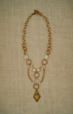 ExVoto Vintage Jewelry Necklace #pearl #necklace #vintage #vintagepearl #vintagenecklace #vintagemedal #medal #madeinusa