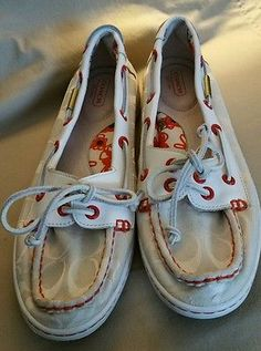Coach Women's Classic Canvas Boat Shoes White Red Size 9.5, slip on