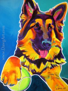 Hey, I found this really awesome Etsy listing at https://www.etsy.com/listing/188190418/german-shepherd-pet-portrait-dawgart-dog