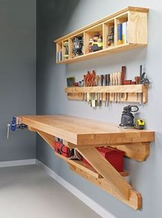 Wall mounted workbench woodsmith plans shop made tools wall mounted bench wall mounted workbench plans Carpentry Projects, Easy Woodworking Projects, Woodworking Bench, Diy Wood Projects, Easy Projects, Woodworking Shop, Project Ideas, Diy Workbench, Popular Woodworking