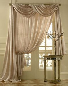 sheer silk swag curtains | Geneva Scroll Linen Blend, Semi-sheer Scarf Swag Window Topper
