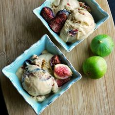 balsamic roasted fig swirled brown butter custard ice cream More