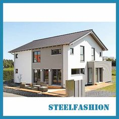 This Modern steel house European style small size has a total construction area of 170 square meters and a structure. Small Prefab Homes, Prefab Homes For Sale, Prefab Modular Homes, Prefabricated Houses, Construction Area, Steel Frame Construction, Metal Building Home Kits, Building A House, Steel Frame House