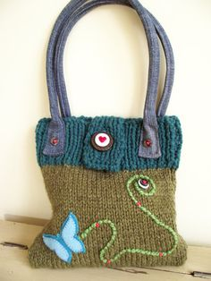 Boho hand knit green handbag with Teal trim, denim handles and butterfly design