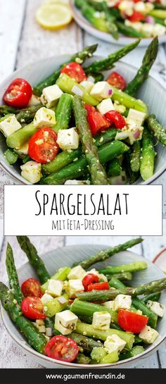 Spargelsalat mit Tomaten und Feta-Dressing Simple recipe for asparagus salad with tomatoes, red onio Easy Salads, Healthy Salads, Summer Salads, Salad Menu, Salad Dishes, Asparagus Salad, Asparagus Recipe, Quick Salad Recipes, Healthy Recipes