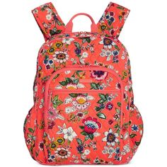 Vera Bradley Campus Tech Backpack ($108) ❤ liked on Polyvore featuring bags, backpacks, coral floral, quilted backpacks, floral backpack, backpack bags, day pack rucksack and lightweight backpack