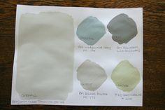 pretty color scheme: BM Titanium, BM Wedgewood Gray, BM Rainstorm, BM Revere Pewter, F+B Green Ground