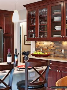 Kitchen Backsplash Cherry Cabinets backsplash: love it!!! like this! though it depends on the kind of