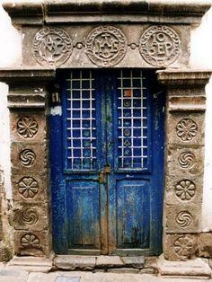 Blue door in Cuzco, Peru