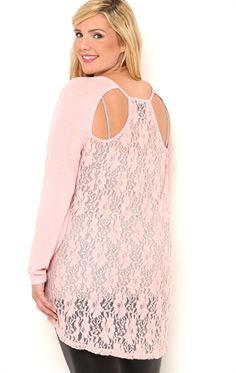 fddce8e0cbc Deb Shops Plus Size Long Sleeve High Low Top with Lace Cut Out Back  28.00
