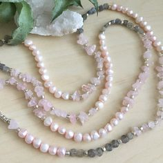 Long Pearl and Gemstone Necklace Freshwater by GirlwiththePearl1