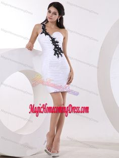 Appliqued One Shoulder Mini-length Inexpensive Homecoming Dresses in White