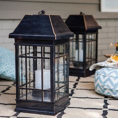 This lantern brings warmth and style to your garden or patio.