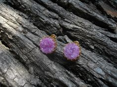 Golden  18K gold plated studs earrings with Hot Pink AB от Lefrei