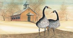 """""""Schoolhouse Visitors"""" by P Buckley Moss. Issued 2003. Image Size: 6-3/8 x 12 ins. Rare at Issue Price: $55."""