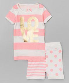 Look at this #zulilyfind! Pink 'Love' Stripe Pajama Set - Infant, Toddler & Girls by Cotton On Kids #zulilyfinds