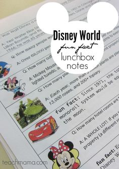 These Disney world fun fact lunchbox notes are perfect for your Disney loving kids! Surprise them with a little note from mom along with a fun Disney fact! Or just use these as a fun Disney trivia game. It'd make a great road trip game on your way to Disney for family vacation! #teachmama #disney #disneymoms #disneykids #disneytrivia #familyvacation #roadtripgamesforkids #lunchboxnotes #disneyfacts