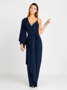 Material:Silk|Ericdress V-Neck Solid Color Hollow Maxi Dress