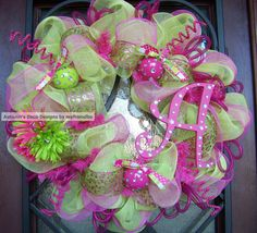 Glitzy Fuchsia and Lime Deco Mesh Wreath with by myfriendbo, $90.00