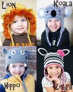 Animal Hat Patterns Crochet Collection 3 (Lion, Koala, Hippo & Zebra/Horse), (Permission to sell all finished products)  15$ @Paula mcr Osborne