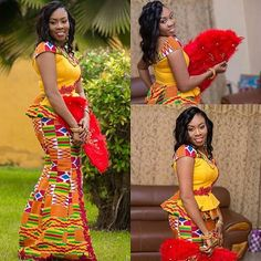 More of the beautiful bride congratulations Hun crushing over you look Brides gorg kente outfit by Makeup and hair by Event styling and coordination by Photography by Latest African Fashion Dresses, African Dresses For Women, African Print Dresses, African Print Fashion, Africa Fashion, African Attire, African Wear, African Women, Ghana Fashion