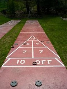 Shuffleboard! We want to put one in our backyard, but it takes so much concrete!