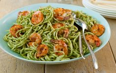 Linguine with Grilled Shrimp and Arugula-Parsley Pesto // #grilling #recipes (click through photo for recipe)