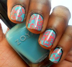 Haute Lacquer: Hawaiian Floral | Zoya Stunning Summer 2013 Collection Nail Art, Swatches, and Review