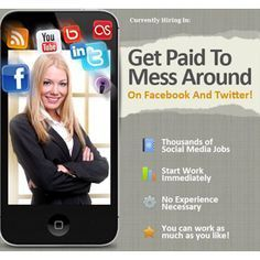 """Get Paid To Mess Around On Facebook And Twitter. Hottest New Work At Home Trend! Get in NOW!! <a href=""""http://paidsocialmediajobs.com/pages/join/?hop=joejoekeys&vtid="""" rel=""""nofollow"""" target=""""_blank"""">paidsocialmediajo...</a>"""