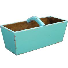 Wood+basket+with+a+distressed+turquoise+finish.+  Product:+BasketConstruction+Material:+WoodColor:+