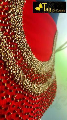 Best fashion work dress neckline ideas Source by lakshmimadhury Blouses Hand Embroidery Dress, Embroidery On Kurtis, Kurti Embroidery Design, Embroidery Neck Designs, Bead Embroidery Patterns, Couture Embroidery, Embroidery Fashion, Dress Neck Designs, Bridal Blouse Designs