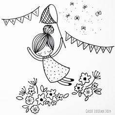 Day 65 of yearlong 30 minute a day sketchbook project. Doodle Drawings, Easy Drawings, Doodle Art, Hand Embroidery Patterns, Embroidery Designs, Cute Doodles, Digi Stamps, Painting For Kids, Cute Illustration