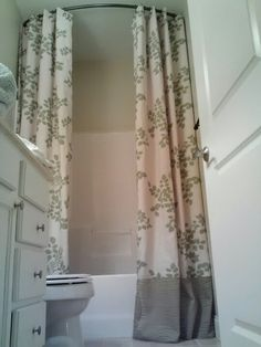 Curved Shower Curtain Extended To Ceiling